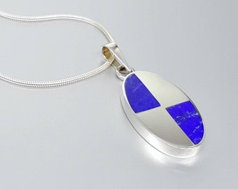 Beautiful pendant with Lapis Lazuli with Sterling silver - inlay work - royal blue - gift idea Christmas- natural stone - geometrical design