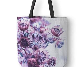 Floral Tote Bag, Purple Flower Bag, Purple Totes, Canvas Bag, Designer Totes, Ladies Tote Bags, Purple Tote Bags