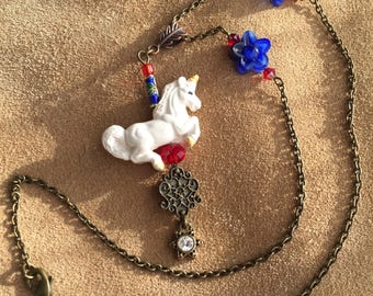 Flowering Unicorn Carousel Necklace Mothers Day Valentines Day