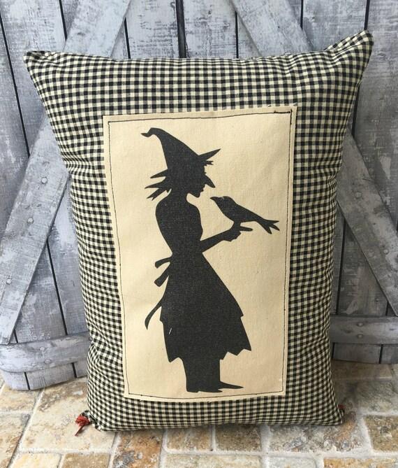 Halloween Witch Pillow, Vintage Halloween Pillow, Halloween Decoration,Primitive Halloween,Vintage Halloween, Halloween Decor,Witch & Crow