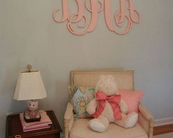 Large Wooden Monogram, Wall Hanging, Unpainted Initials, Graduation Gift, Wedding, Nursery, Bedroom Decor, Dorm Room Decor