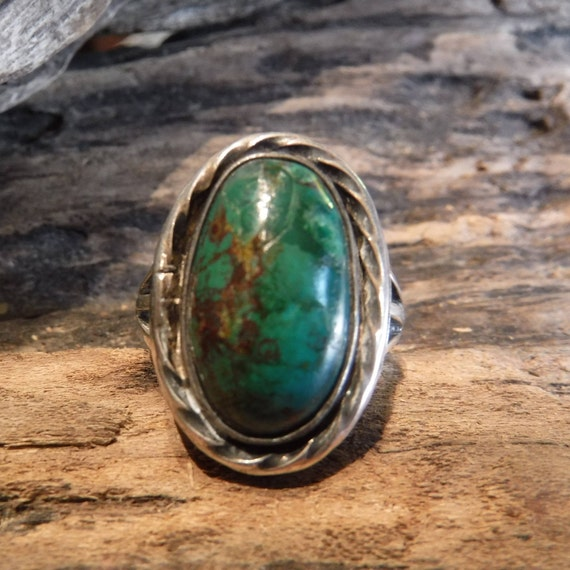 Vintage Large Royston Turquoise Ring Sterling Navajo Native American Heavy 11.2 Grams Size 10.5 Sterling Silver Mens ring Turquoise Ring