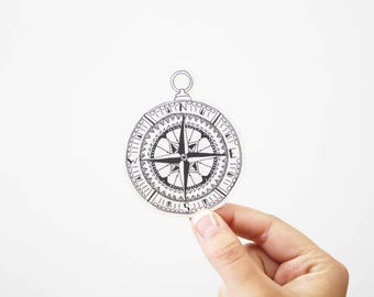 Black Compass Transparent Sticker