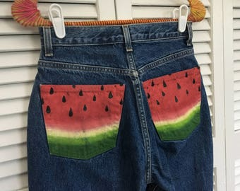 Watermelon upcycled classic retro jeans!