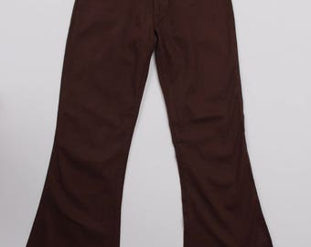Vintage 1970s Brown Flared Bell Bottoms Trousers