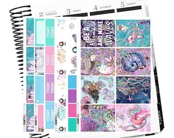 Mermaid Waves Full Planner Sticker Kit, 6 Sheets