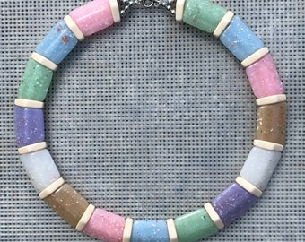 Vintage Choker Necklace // Pastel Necklace // 80s Choker // Confetti Plastic // Spring Pastel Necklace // Purple and Pink