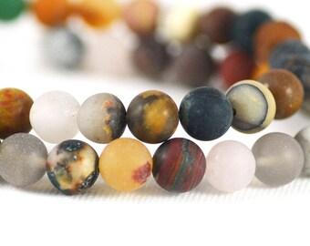 Semi-Precious Gemstone Mix Multi-Stone Strand Matte Round Beads Strand 8mm