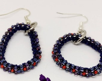 Red and Blue Glass Bead Earrings