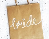 Bride or Groom Bachelorette/Bachelor Party Medium Kraft Gift Bags with Handles, Sturdy Bottom, Hand-Lettered, different font color choices