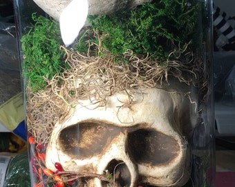 Skull centerpiece, skull decor, Halloween centerpiece, Halloween decor, table centerpiece, table decor, skeleton centerpiece, skeleton deco
