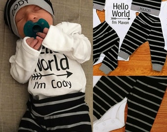 Personalized Hello World, baby boy, coming home outfit, personalized hat, custom hat, baby shower gift, gray black stripes, bodysuit, pants