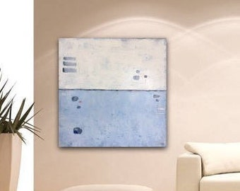 Abstract Painting Blue White Painting Original Canvas Art Contemporary Abstract Modern Art 32 x 32 stretched