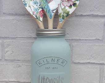Kilner Jar Utensil Holder. Kitchen Decor. New Home Gift.  Choice of colours available