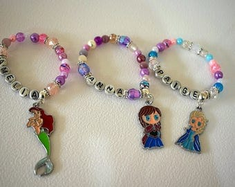 Childrens personalised bracelets name small gift princess ballet dance shoe unicorn present play jewellery rainbow kids costume birthday