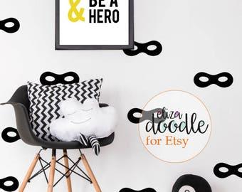 Superhero masks wall decals / superhero wall stickers /batman / boys wallpaper / monochrome nursery / removable stickers / fake wallpaper