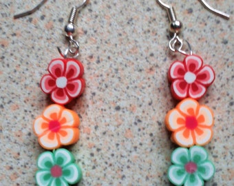 Traffic Light Flower Earrings- dangle earrings, drop earrings, floral, beaded, red, green, orange