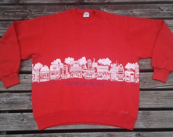 "Vintage 80's Crazy Shirt Hawaii ""Carmel-by-the-Sea"" Red Wrap-around, Double-sided Crewneck Sweatshirt Made in USA Large"