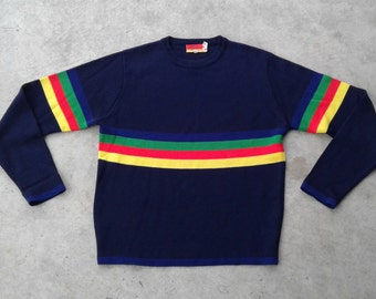 1970's Hudson's Bay Company / Acrylic Vintage Knit Sweater / Baymart / Rainbow Striped Dark Blue Sweater