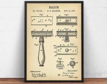 Razor Patent Print, Digital Download, Barber Shop Decor, Vintage Razor Wall Art, Razor Blueprint Art, Barber Gifts Bathroom Poster Printable