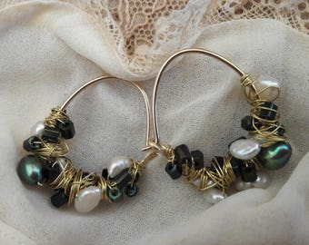 Gold filled earrings with freshwater pearls white with green 22