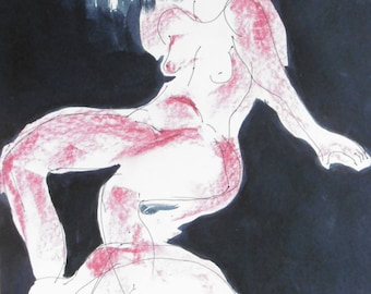 Original drawing of pen, ink, pastels and felt-tip pen, signed, 420x250mm, body drawing, nude, nude drawing