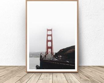 San Francisco Art, Golden Gate Bridge, San Francisco Golden Gate, California Bridge, Travel Photography, Modern Wall Art, Big Poster, Print