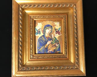 Framed Religious Enameled Painting