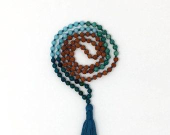Hand knotted Rudraksha, Amazonite, Chrysocolla Mala Necklace, 108 meditation Mala beads