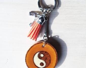 Handmade Yin Yang wooden keychain , white , black , wood , round
