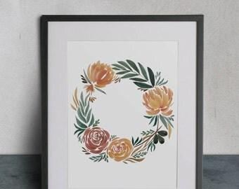 Fall Crown, Watercolor Painting, 8 1/2x11 Print