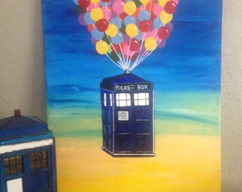 Doctor Who TARDIS painting, Dr. Who Tardis with Disney UP, Dr. Who Tardis Wall Paintings, kids room decor