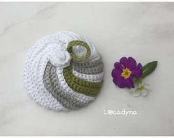 Flower shower Tawasahi bath shower Spa Onsen Crochet white grey green yarn OekoTex Certified cotton Polyester Invitation Bath Scrubby gift