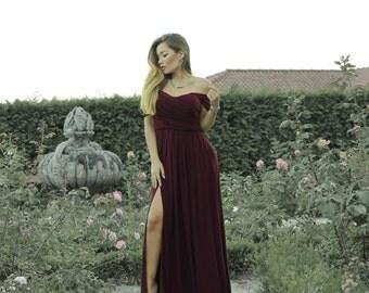 Dark red drapped dress