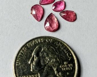 5 Pieces PinkTourmaline Pear shape Lot,Tourmaline Slice,Rose Cut Stones,Tourmaline Loose,Rose Cut Natural Tourmaline Gemston,7 to 9 mm aprox
