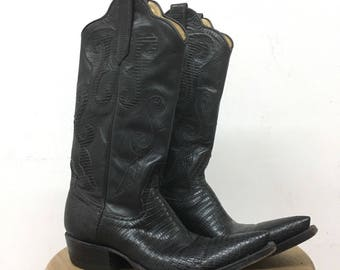Women's Gorgeous VIntage Leather Black Cowboy Boots Size 6/6.5