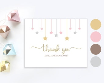 Twinkle twinkle little star thank you cards   Personalized Gold Baby Shower Thank You card   Gold stars girl baby shower thank you card