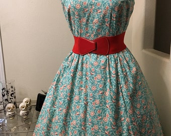 Vintage 1950s rose & swallows print cotton sun dress