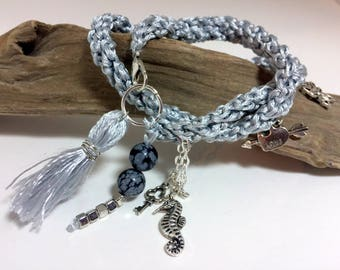 "Bracelet ""Love"" chrome gray cotton - obsidian and charms"