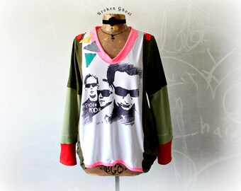 Retro 80's Band Loose Fitting Top Women DIY T-Shirt Colorful Sweatshirt Eco Friendly Music Festival Upcycle Top Wearable Art L 'STRANGELOVE'