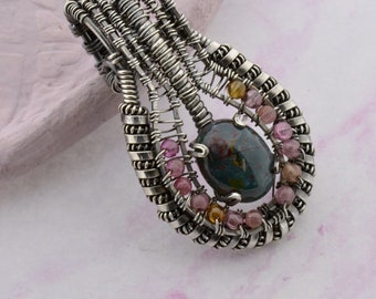 Bloodstone & Tourmaline wire wrap with Sterling Silver