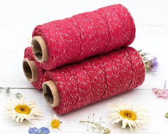 Red  Bakers Twine,   4th July, 1mm,  205 feet, 4ply, Metallic Twine, Hemp Twine, Hemp Bakers Twine, Christmas -T64