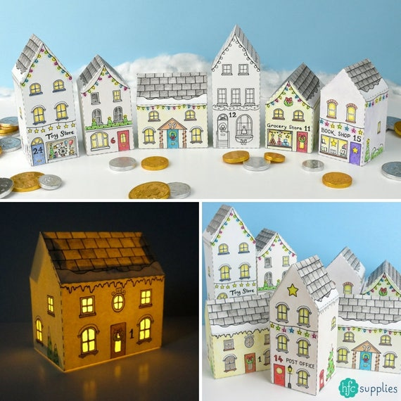 Advent Calendar Diy Kit : Advent calendar town printable house boxes colour in diy