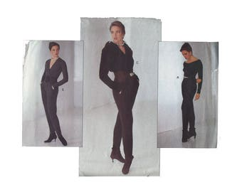 Sexy 1990s Donna Karan DKNY Jumpsuit Vogue American Designer Sewing Pattern 2609 Size 12-14-16 Bust 34-36-38 UNCUT Vintage Sewing Pattern