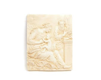 Vintage Roman Greek Goddess Wall Plaque Carved Resin Grecian Mother Nursing Baby Relief 3D