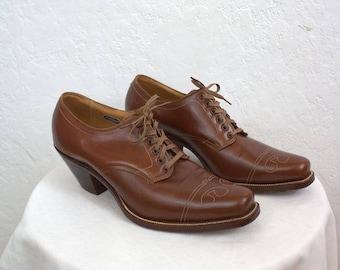 """1920's """"Florsheim"""" Men's Brown Leather Oxford Dress Shoes / Men's Size: 8"""