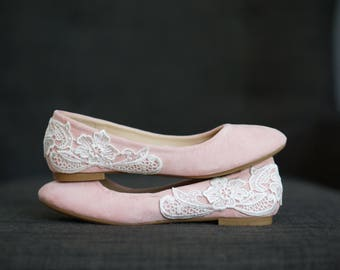 Blush Wedding Shoes, Wedding Flats, Blush Flats, Bridal Flats, Bridal Shoes, Bridesmaid Gift, Ballet Flats,Low Wedding Shoes with Ivory Lace