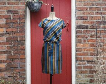 1960s does 1920s Pine Stripe dress | 60s silk wiggle dress | vintage mid-century striped dress | drop waist dress