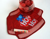 Mug Rug, Ugly Christmas Sweater Quilted, Ho-ho-ho Coffee Mat, Mini Quilt, Candle Mat, Placemat, Handmade gift for coworker, Ornament Appliqu