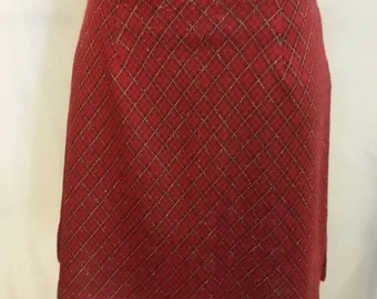 SHOP CLOSING 70% OFF Womens red metallic skirt red plaid skirt My Michelle medium mini skirt vintage clothing womens clothing size 9/10